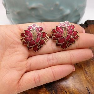 🌵 Vintage cloisonne red flower brass stud asian